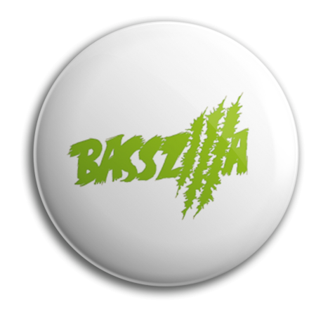 Button - BASSZILLA - Logo Green White