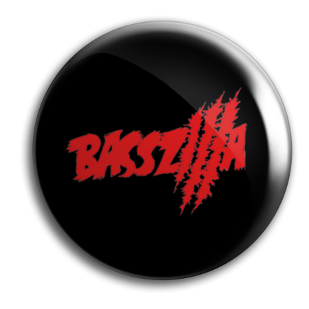 Button - BASSZILLA - Logo Red Black