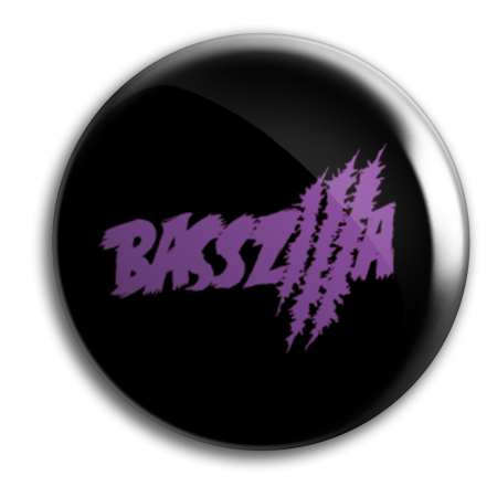 Button - BASSZILLA - Logo Violet Black