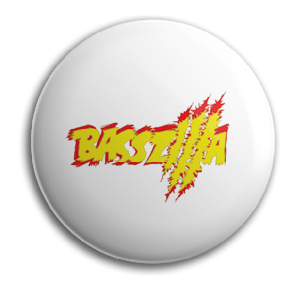 Button - BASSZILLA - Logo Yellow White